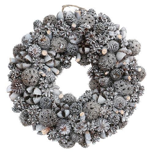 Ghirlanda natalizia corona avvento glitter argento 25 cm 1