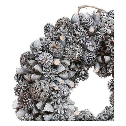 Ghirlanda natalizia corona avvento glitter argento 25 cm 2