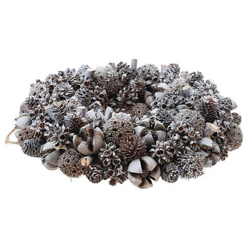 Ghirlanda natalizia corona avvento glitter argento 25 cm 3