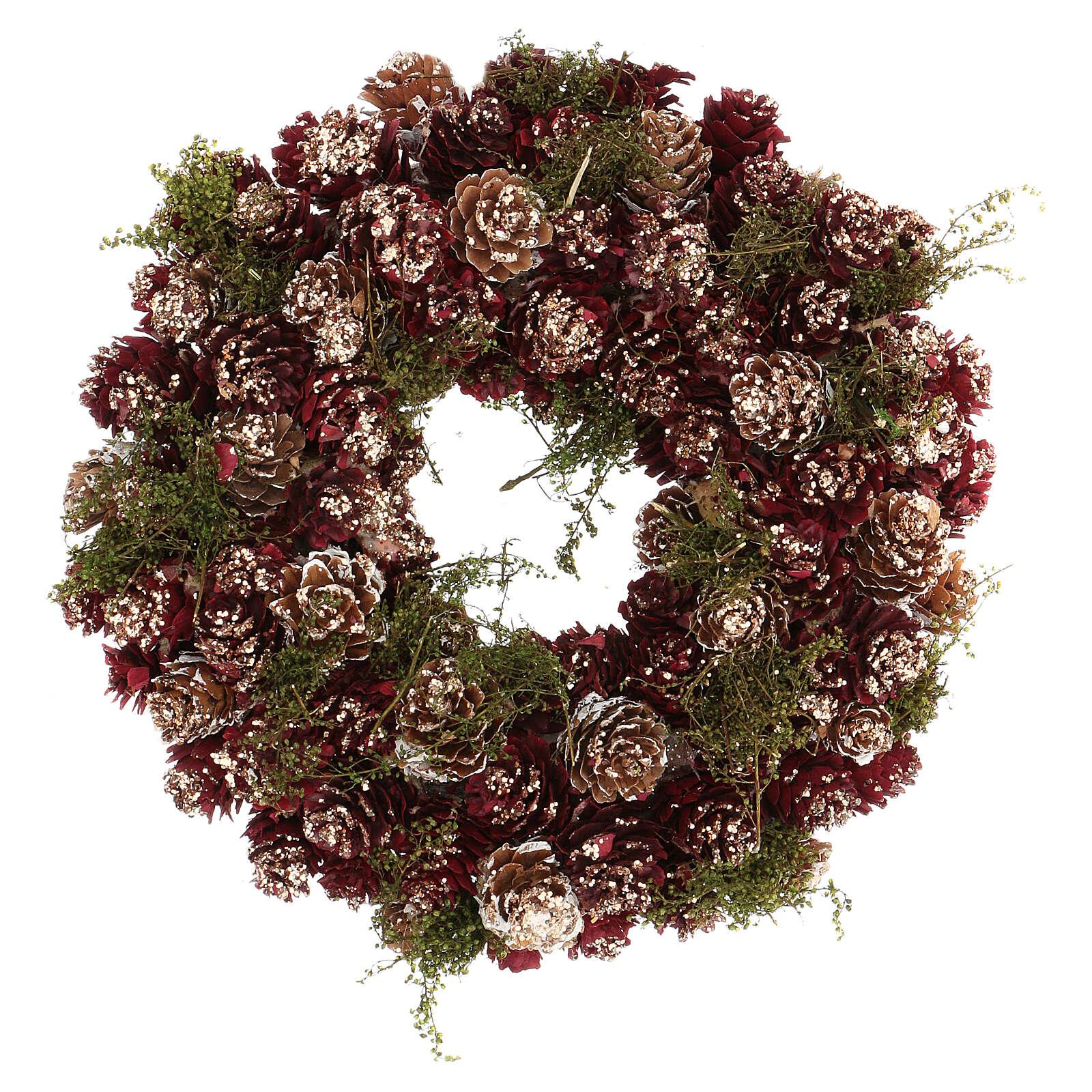 Couronne Noël Avent paillettes or rouge 25 cm 3