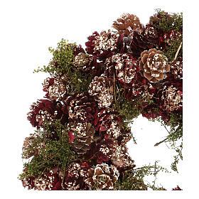 Couronne Noël Avent paillettes or rouge 25 cm s2