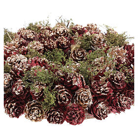 Couronne Noël Avent paillettes or rouge 25 cm s3