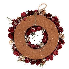 Couronne Noël Avent paillettes or rouge 25 cm s4