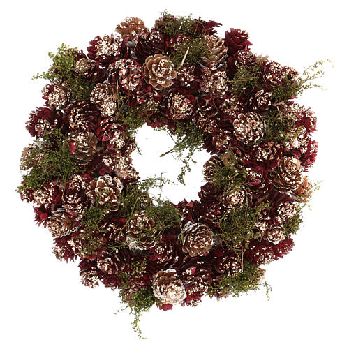 Couronne Noël Avent paillettes or rouge 25 cm 1