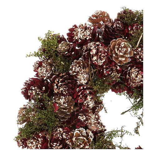 Couronne Noël Avent paillettes or rouge 25 cm 2