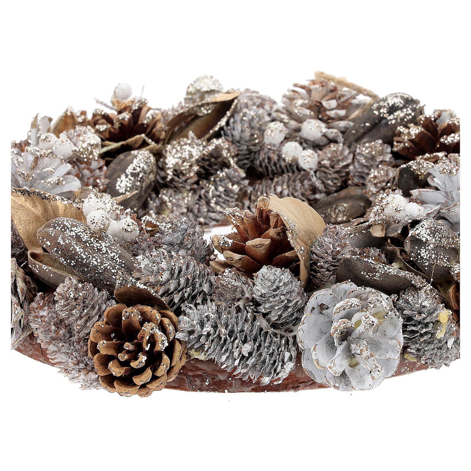 Advent wreath gold and white 33 cm diam 3