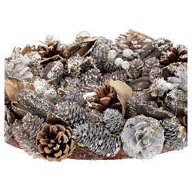 Advent wreath gold and white 33 cm diam s3