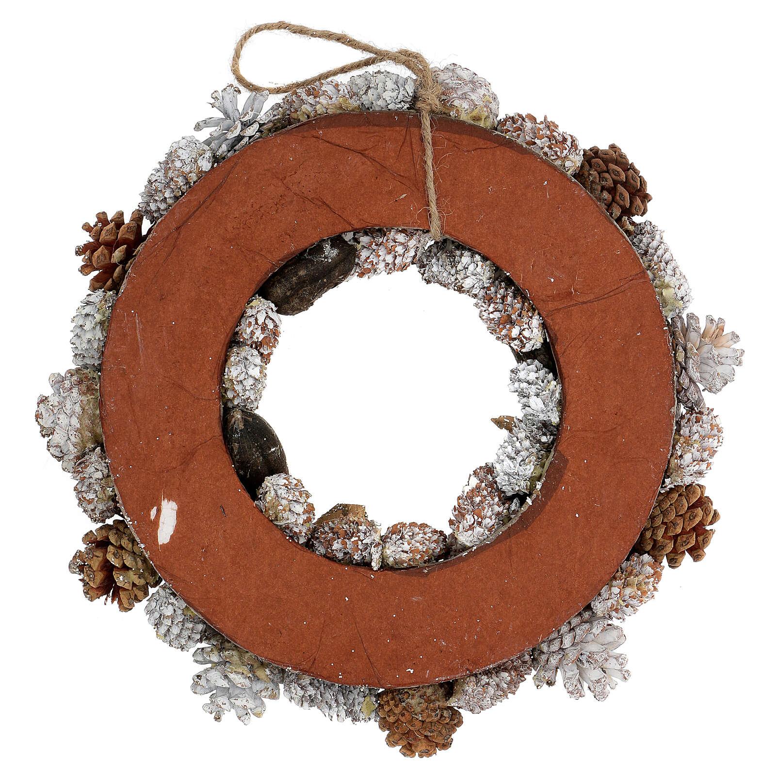 Ghirlanda natalizia corona avvento oro e bianca 35 cm 3