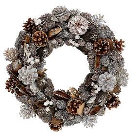 Ghirlanda natalizia corona avvento oro e bianca 35 cm s1
