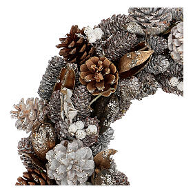 Ghirlanda natalizia corona avvento oro e bianca 35 cm s2