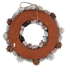 Ghirlanda natalizia corona avvento oro e bianca 35 cm s4