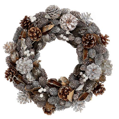 Ghirlanda natalizia corona avvento oro e bianca 35 cm 1
