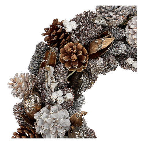 Ghirlanda natalizia corona avvento oro e bianca 35 cm 2
