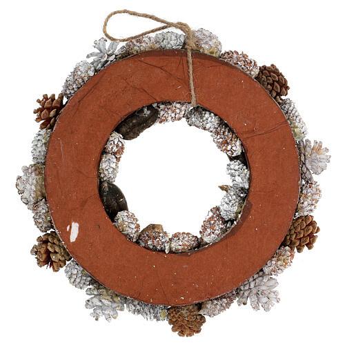 Ghirlanda natalizia corona avvento oro e bianca 35 cm 4