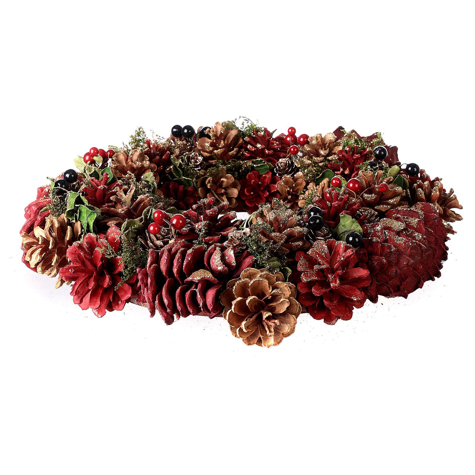 Grinalda de Natal - Coroa do Advento ouro e vermelho com glitter 35 cm 3