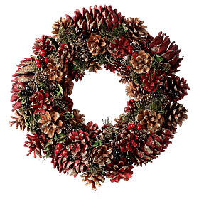 Grinalda de Natal - Coroa do Advento ouro e vermelho com glitter 35 cm s1