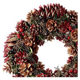 Grinalda de Natal - Coroa do Advento ouro e vermelho com glitter 35 cm s2