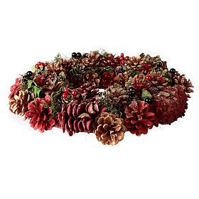 Grinalda de Natal - Coroa do Advento ouro e vermelho com glitter 35 cm s3