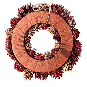 Grinalda de Natal - Coroa do Advento ouro e vermelho com glitter 35 cm s4