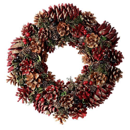 Grinalda de Natal - Coroa do Advento ouro e vermelho com glitter 35 cm 1