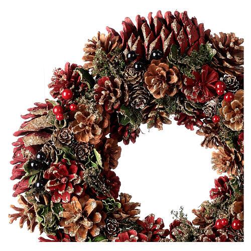 Grinalda de Natal - Coroa do Advento ouro e vermelho com glitter 35 cm 2