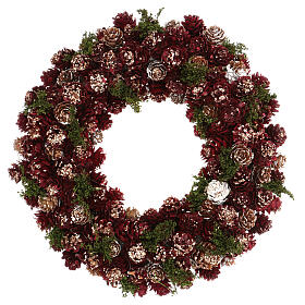Christmas wreath with gold griller and pine cones 30 cm s1