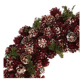 Christmas wreath with gold griller and pine cones 30 cm s2