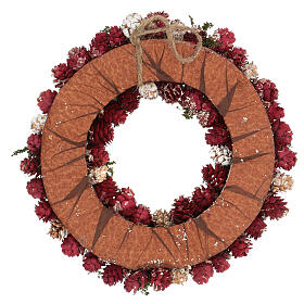 Christmas wreath with gold griller and pine cones 30 cm s4