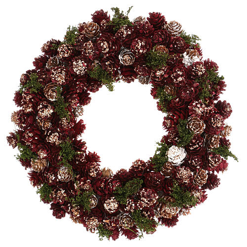 Christmas wreath with gold griller and pine cones 30 cm 1