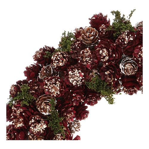 Christmas wreath with gold griller and pine cones 30 cm 2