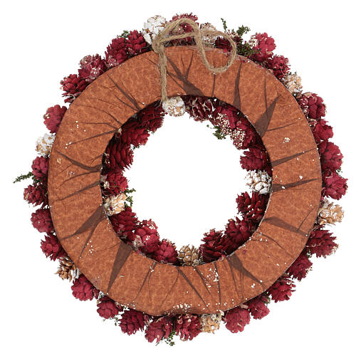 Christmas wreath with gold griller and pine cones 30 cm 4