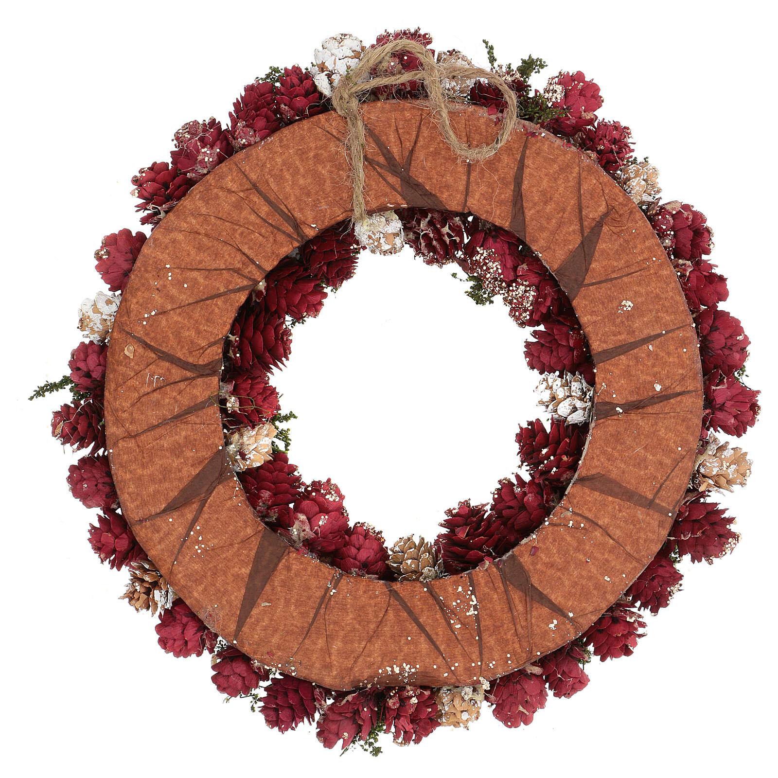 Guirnalda navideña corona adviento purpurina oro 30 cm 3