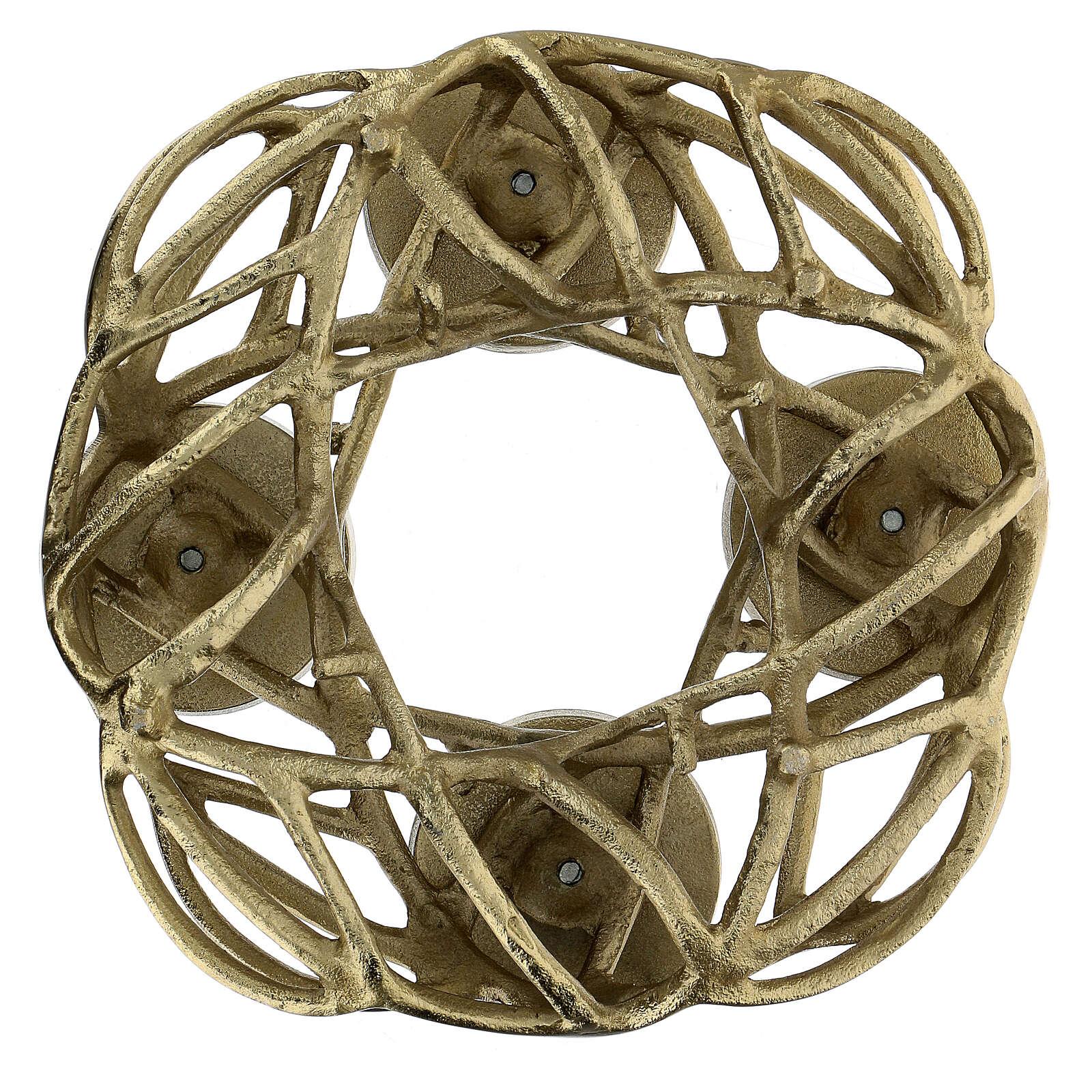 Corona Avvento metallo dorato  3