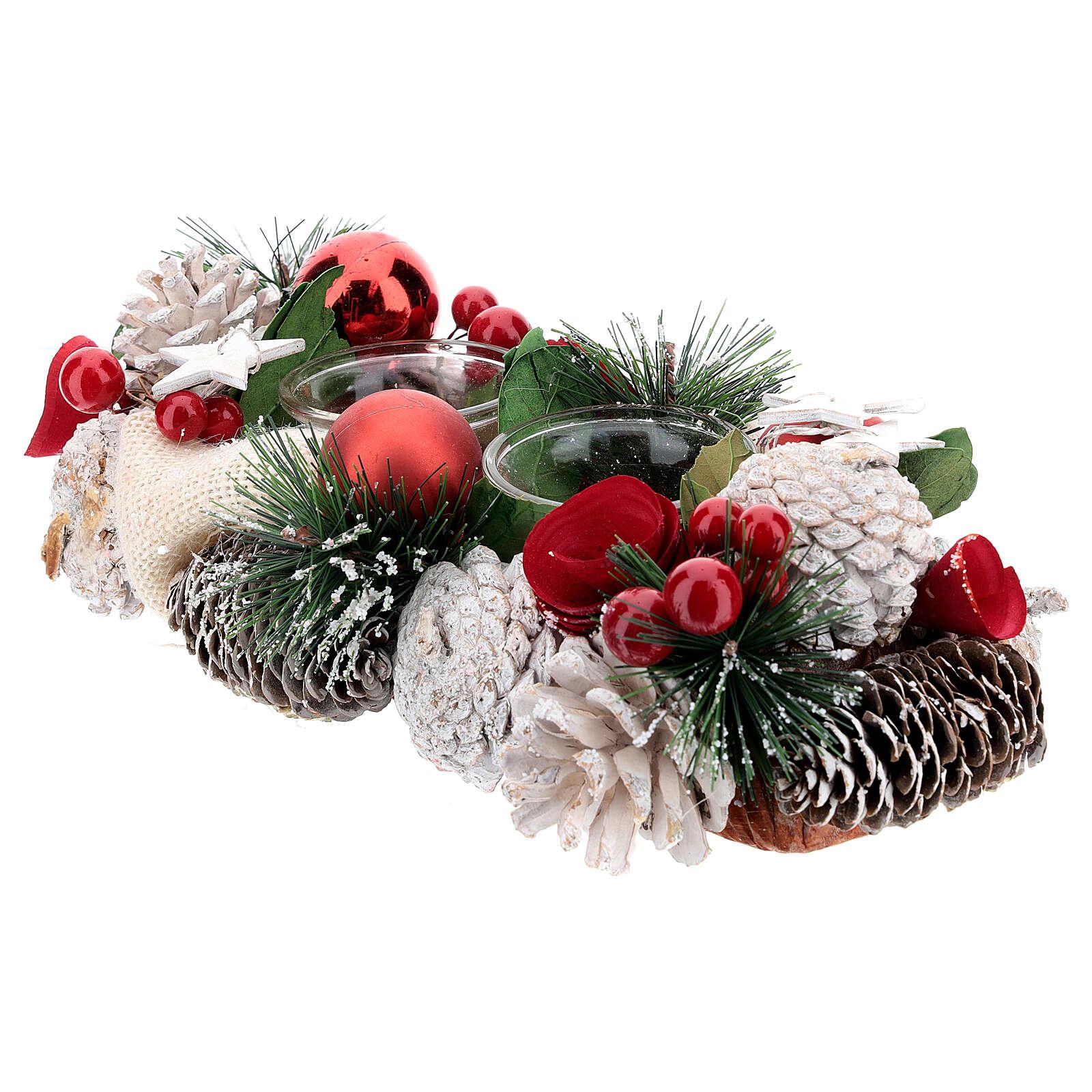Centrotavola natalizio bianco rosso portacandela 3 cm 30x15 cm 3