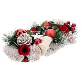 Centrotavola natalizio bianco rosso portacandela 3 cm 30x15 cm s3