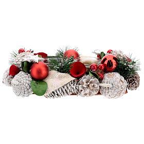 Centrotavola natalizio bianco rosso portacandela 3 cm 30x15 cm s4