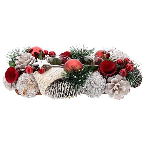 Centrotavola natalizio bianco rosso portacandela 3 cm 30x15 cm 1