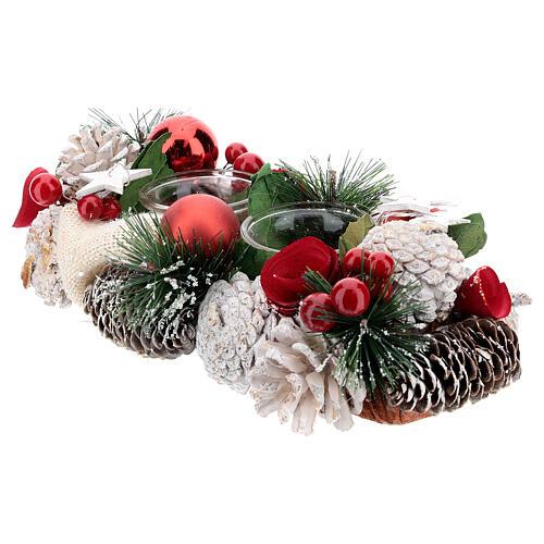 Centrotavola natalizio bianco rosso portacandela 3 cm 30x15 cm 2