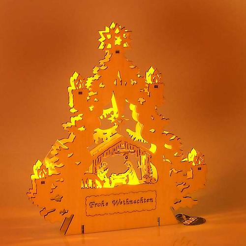 Presepe albero con luci 2