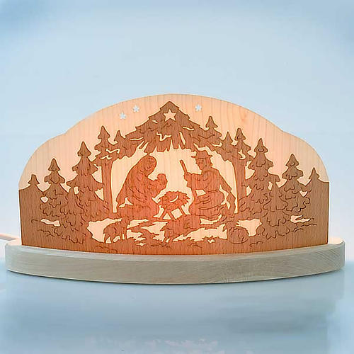 Lit-up wooden nativity scene 2