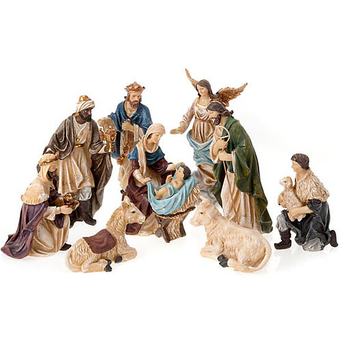 Painted resin Nativity scene 22 cm 1
