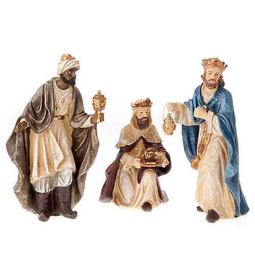 Painted resin Nativity scene 22 cm 3