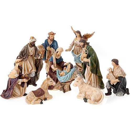 Painted resin Nativity scene 22 cm 1