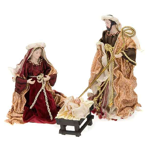 Burngundy and gold nativity set, 25cm 4