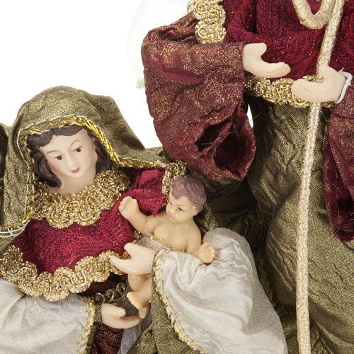 Nativité,20 cm en bordeaux et vert 3