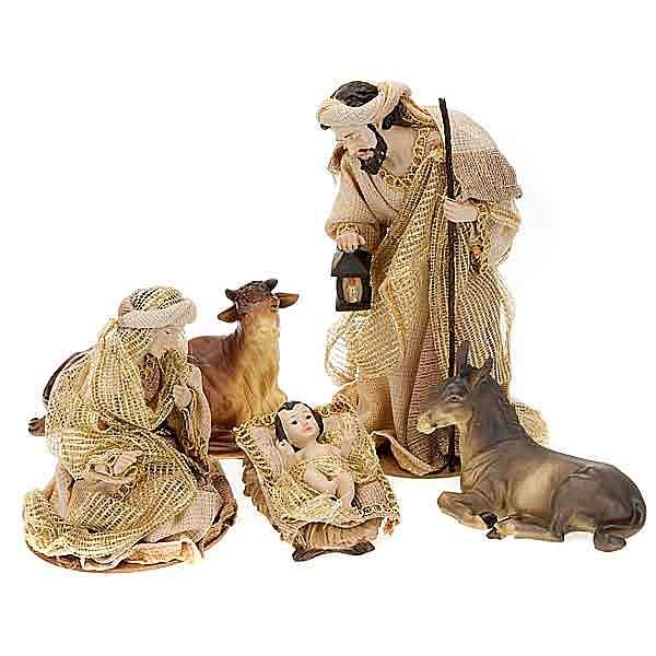 Nativity scene 22 cm golden juta 4