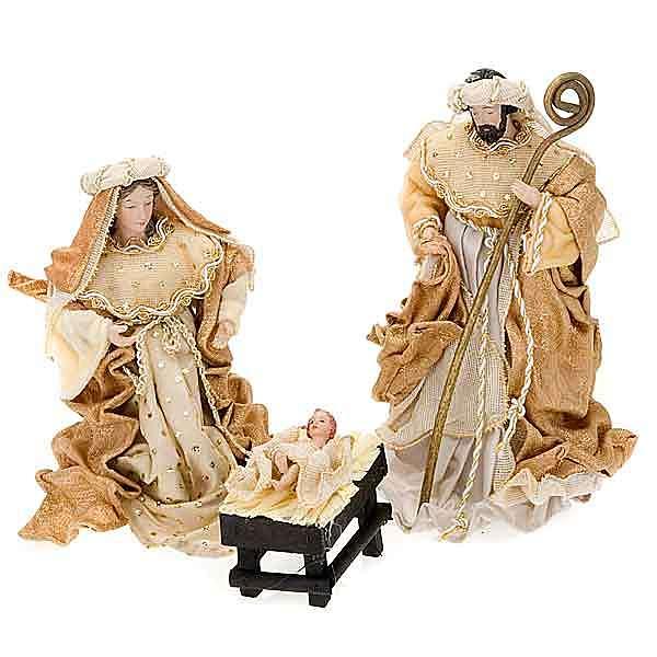 Nativité,25 cm en couleur crème et or 4
