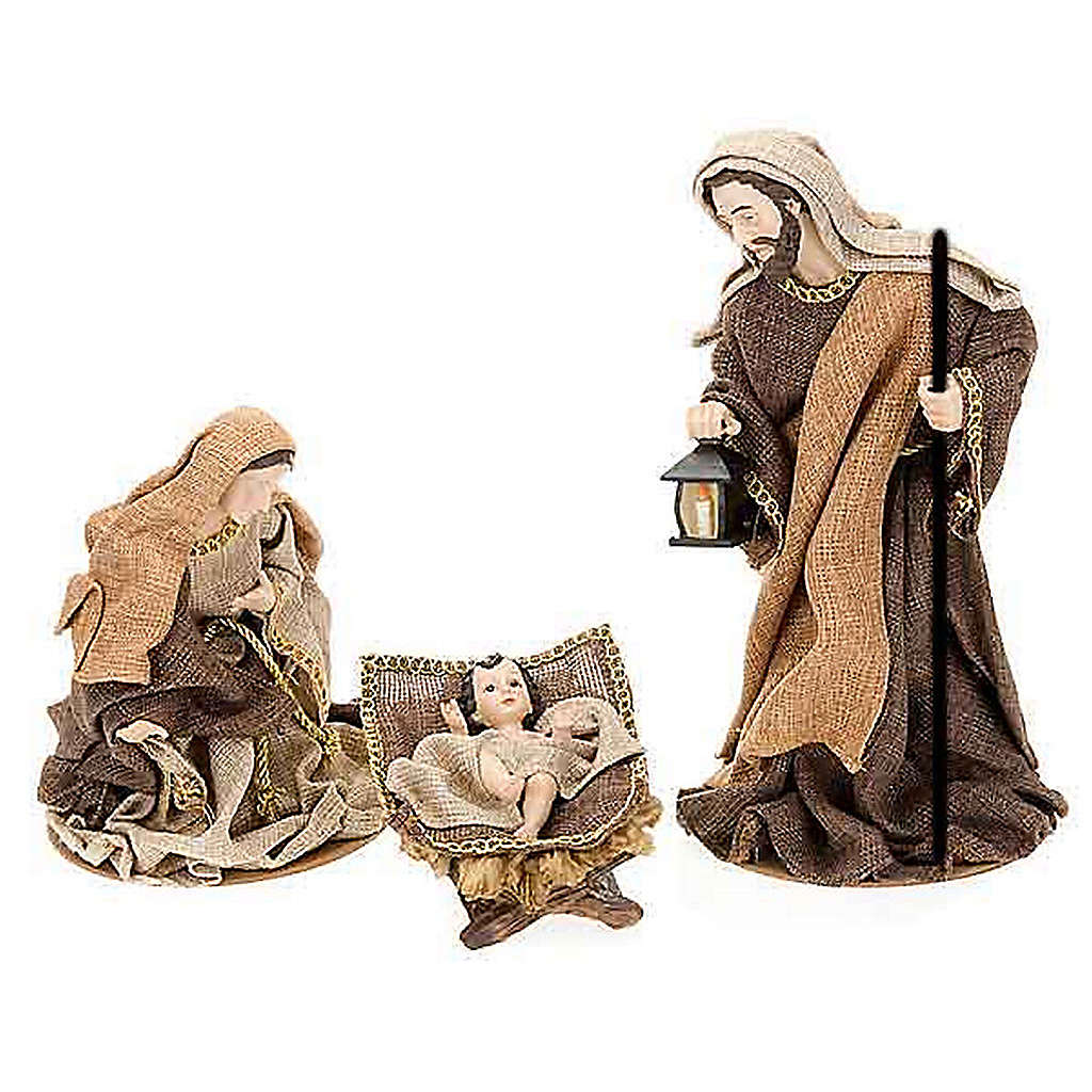 Golden hemp nativity set, 33cm 4