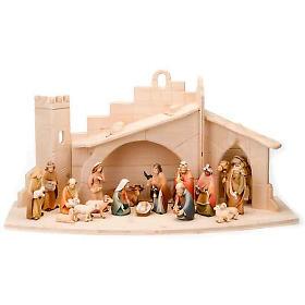Stylised wooden nativity scene 14 cm s1