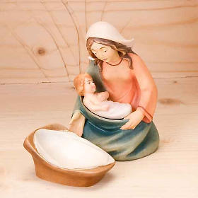 Stylised wooden nativity scene 14 cm s3